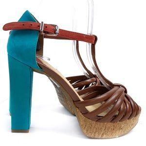 Gianni Binni Brown And Aqua Block Heel Sandals 7.5